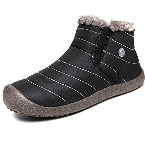 JACKSHIBO Men's Women's Warm Winter Short Boots Fur Lining Black PcHhDn7Hj