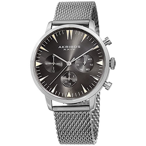 (Akribos XXIV Designer Men's Watch – Multifunction Stainless Steel Mesh Bracelet Wristwatch with Date, Day and 24 Hour Chronograph Sub Dials (Silver with Gray Dial))