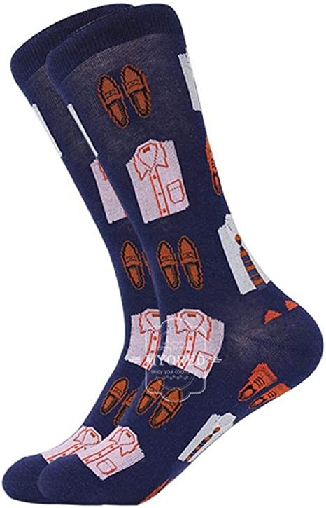 Calcetines de hombre Calcetines de algodón Animal de dibujos animados Frutas Perro Calcetines de mujer Calcetines de regalo para la primavera Otoño Invierno-En calcetines de hombre 5 pares, 1254C: Amazon.es: Deportes y