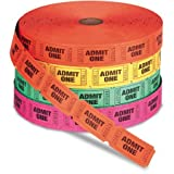 admit one ticket wall art - PM Company Admit One Single Ticket Roll Numbered Assorted 2000 Tickets/Roll WLM