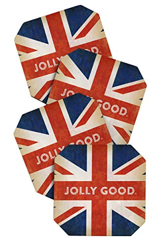 Deny Designs Anderson Design Group Jolly Good British Flag Coasters, Set of 4