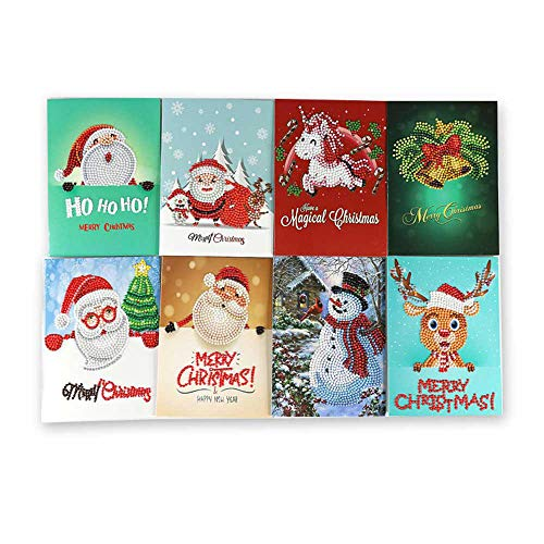 (DIY 5D Diamond Painting By Number Kit,Pawaca Merry Christmas Greeting Cards 8 Pack Set,Xmas Creative 'Thank You' Blank Cards W/Envelopes,Santa Claus,Reindeer,Snowman Tree Card Gift For Best Wished)