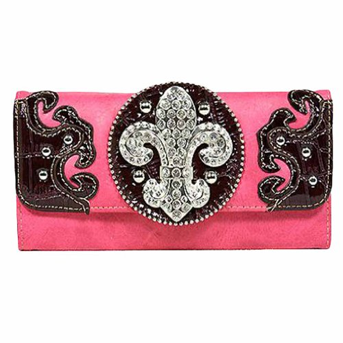 Hot Pink and Brown Western Style Rhinestone Fleur Di Lis Long Wallet, Bags Central