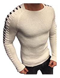 Sayah Mens Curvy Stitch Crewneck Knit Long-Sleeve Pullover Sweater