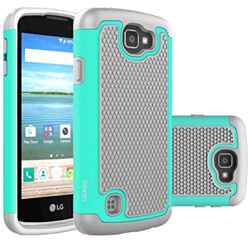 OEAGO LG K4 LTE Case, LG Spree Case, LG Rebel LTE Case Cover Accessories - Shock-Absorption Dual Layer Defender Protective Case Cover For LG K4 LTE / LG Spree / LG Rebel LTE / LG Optimus Zone 3 - Mint (Lg Optimus Accessories compare prices)