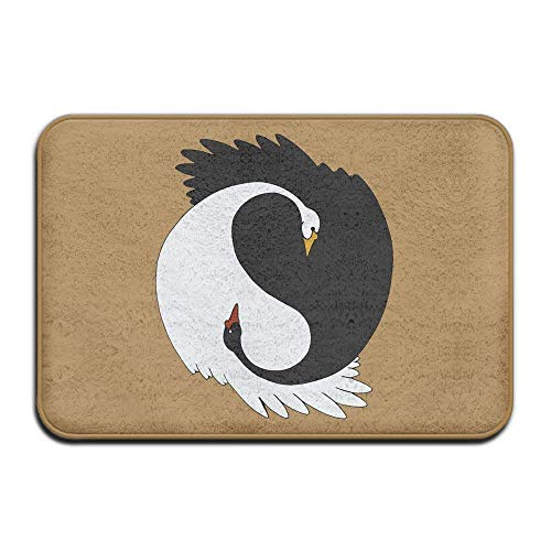 - AngelEvan Welcome Home Decor Doormat, Yin Yang Swans Non Slip Front Door Mat Entryway Rug for Home Decor