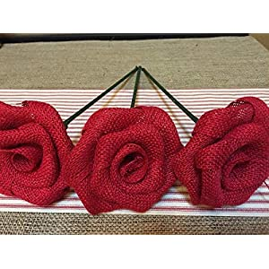 Set of Three Red Burlap Stemmed Roses Stem Flower for Patriotic Bouquet Decor Rustic Wedding Venue 76