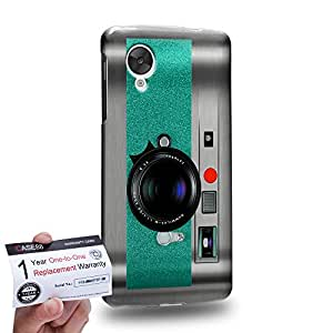 Case88 [LG Nexus 5] 3D impresa Carcasa/Funda dura para & Tarjeta de garantía - Art Drawing Aqua Retro Old Style Camera