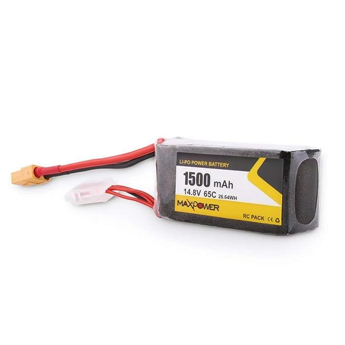 JSMeet 14.8V 1500mAh 65C 4S Li-Po Enchufe XT60 para Wizard X220S ...