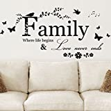DIY HOME Family Letter Quote Removable Vinyl Decal Art Mural Home Decor Wall Stickers by Meco