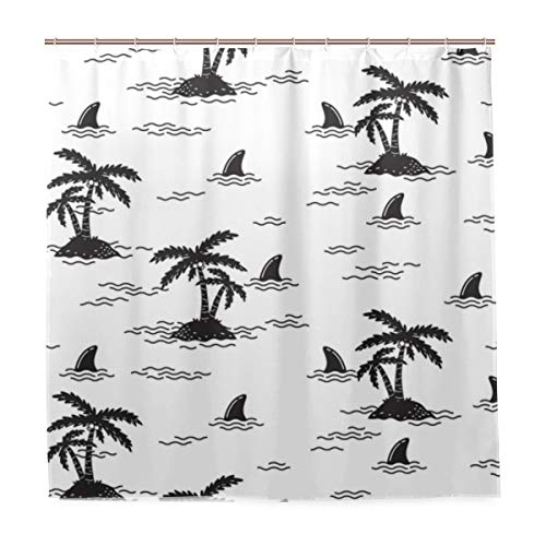 VAMIX Decoration Shower Curtain Shower Shark Fin Dolphin Whale Ocean Wave Bath Curtains Waterproof Fabric Bathroom Decor Set with Hooks 48X72inch (Difference Between Shark Fin And Dolphin Fin)
