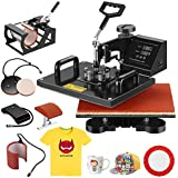 SUNCOO 12x15,5 in 1 Heat Press Machine Swing-Away Digital Transfer Sublimation T-Shirt Hot Pressing Machine-Multipurpose Mug/Hat Plate/Cap Press