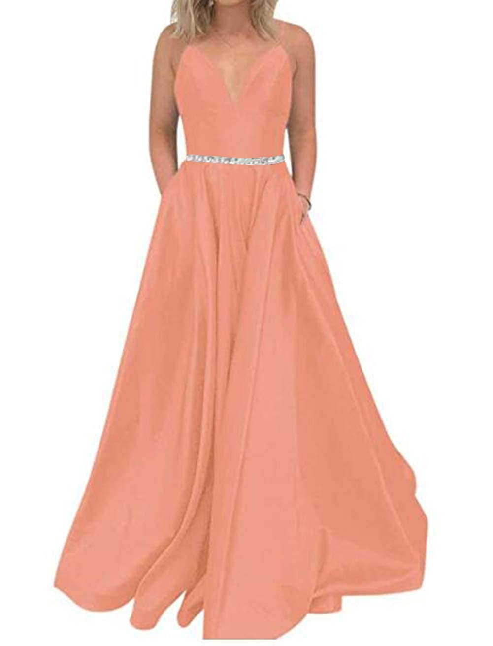 Coral Tsbridal Women's A Line Bead Prom Dresses V Neck Satin with Pockets Evening Gown