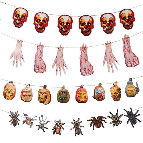 Zehhe 4 Packs Large Halloween Party Banner Decoration,