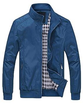 QitunC Hombre Chaqueta Bomber Plus Size Collar De Pie Cremallera Cazadora Abrigo Taladre Azul XXXL