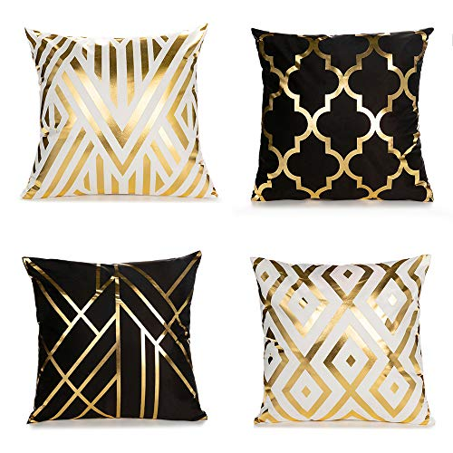 ENJU 4 Pack Soft Short Fuzzy Square Throw Pillow Covers, Geometry Gold Stamping Decorative Cushion Covers Pillowcase for…