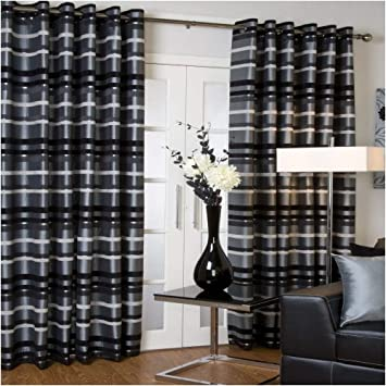 Kitchen Curtains black and silver kitchen curtains : Faux Silk Lined EYELET Curtains SILVER GREY BLACK 46X54: Amazon.co ...