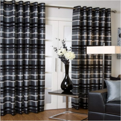 Faux Silk Lined EYELET Curtains SILVER GREY BLACK 46X54 Amazoncouk Kitchen Home