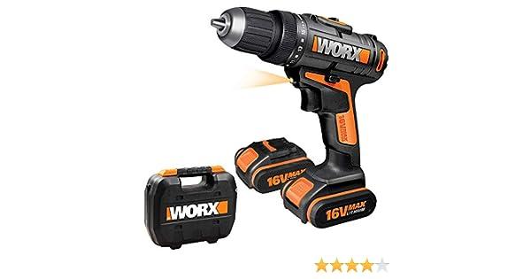 Worx WX152.1 Taladro Atornillador 2,0Ah Li-Ion 2 Baterías 16V