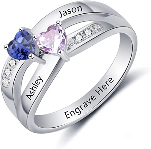 OPALSTOCK Custom Name Rings 2 Simulated Birthstones Promise Rings for Women Couple Engagement Rings for Women