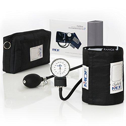 MDF® Calibra Aneroid Premium Professional Sphygmomanometer - Blood Pressure Monitor with Adult Cuff & Carrying Case - Black - Full Lifetime Warranty & Free-Parts-For-Life (MDF808M-11) (Professional Sphygmomanometer)