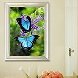 Bazaar 20x30cm 5D DIY Blue Butterflies Diamond Painting Full Rhinestone Animal Home Decoration Cross-stitch Kit