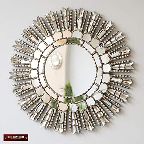 (Silver Round Sunburst Wall Mirror 23.6