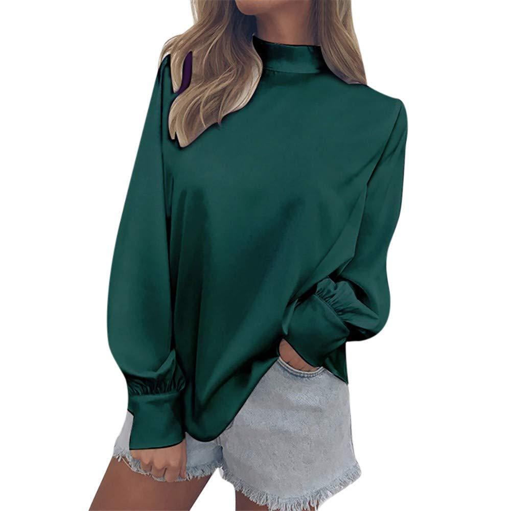 FimKaul Womens Chiffon Shirt Elegant Turtleneck Lantern Sleeve Blouse Tops Ladies Office Work Tee