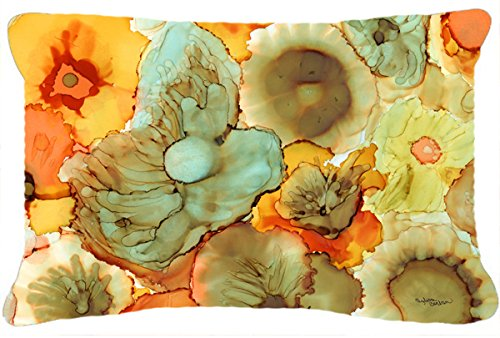 Multicolor 12 x 16 Carolines Treasures 8959PW1216 Abstract Flowers Teal /& Orange Fabric Decorative Pillow