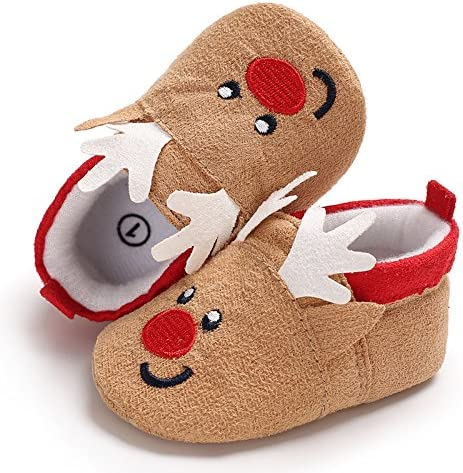 Baby Boys Girls Christmas Santa Deer Booties Slippers Warm Fur Snow Boots Toddler Pull On Crib Shoes