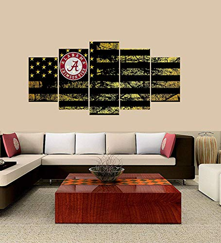 XINGAKA Premium Quality XINGAKAed Wall 5 Pieces / 5 Pannel Wall Decor Alabama Crimson Tide Logo Painting, Home Decor Football Sport Pictures ()