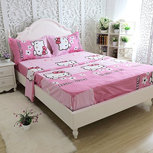 Fadfay Girls Pink Hello Kitty Bed Sheet Set 4 Piece Hello Kitty Bedding Queen Size Buy Online