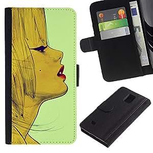 [Neutron-Star] Modelo colorido cuero de la carpeta del tirón del caso cubierta piel Holster Funda protecció Para Samsung Galaxy Note 4 IV [ Lèvres]