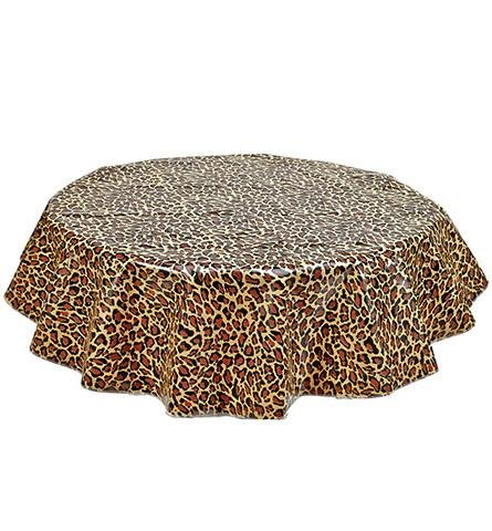Round Freckled Sage Oilcloth Tablecloth in Leopard - You Pick the Size!