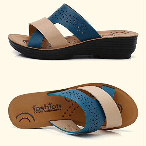 Casual Mules Eté de Plage Chaussure Frestepvie Compensée Bleu Confortable Vintage Sandales Vacances Femme Sabots Vintage Tongs E1dqSxq4