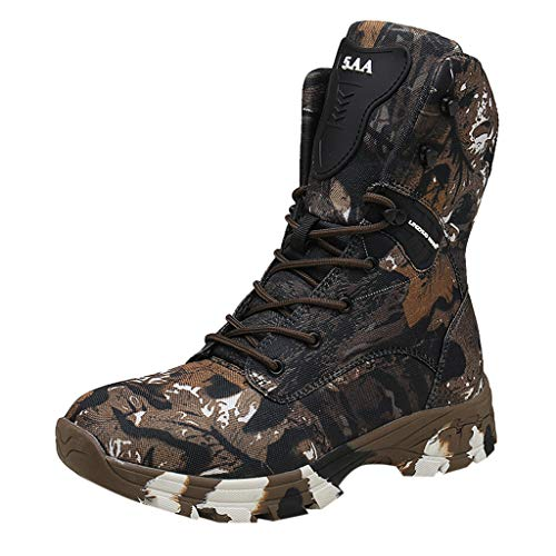 iYBUIA Men's Fashion Large Size Boots Anti-Skid Desert Boots Outdoor Net Surface Camouflage Tactical Combat Boots (Desert Bowling Palm)