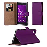 Sony Xperia Z1 Case - Wallet Book [Stand View] Card Case Cover Premium Leather Folio Case Sony Xperia Z1 Screen Protector, Microfibre Polishing Cloth Touch Stylus Pen