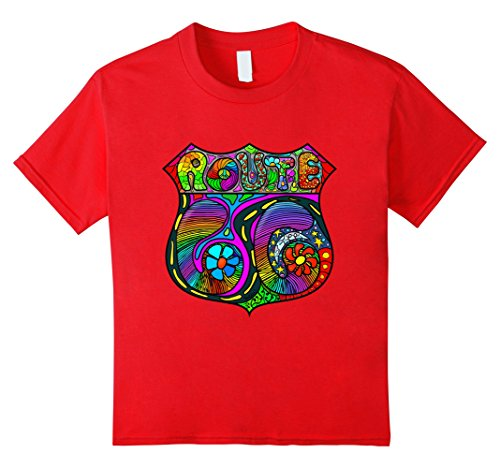 Kids High Tee Glamping Groovy Route 66 Hippie Highway 4 Red Adult Groovy Hippie Shirt