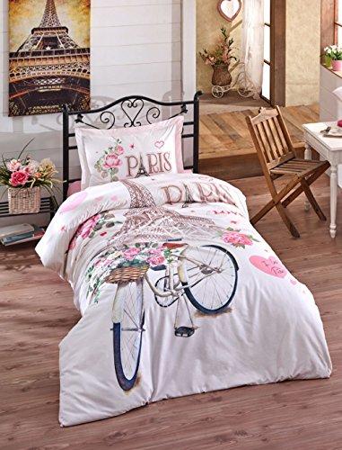 Bekata Paris Love Bicycle%100 Cotton Single/Twin Size Quilt Duvet Cover Set Eiffel Tower Themed Children's Paris Bedding Linens Reversible (3PCS)
