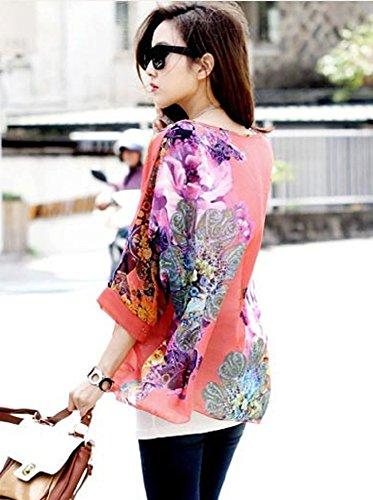 Chemise Bain en Manche Bikini de Floral de Haut de Tunique Top Chauve Cache Up 3 Mode Kimono Souris Imprimee Blouse Chic Caftan Mousseline Soie Boheme Hippie 4 Maillots 08 Plage Multicolore Cover Femme Beachwear AAr6w