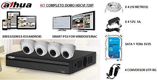 Kit 4 Camaras Domo de Vigilancia para el Hogar HAC-HDW100M de Dahua: Amazon.es: Bricolaje y herramientas