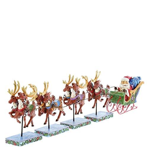 (Jim Shore Dash Away All Santa and Reindeer Sleigh Christmas Figurine Set 4055048)
