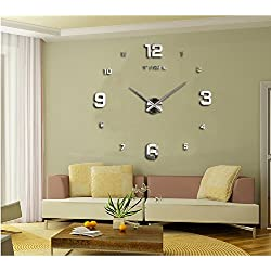 DIY Wall Clock, Venkaite 3D Modern Frameless Large Wall Clock Style Watches for Hours Room Home Decorations, Black (Silver)