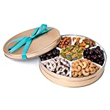 Chocolate and Nuts Gourmet Gift Basket | Christmas or Easter Holiday and All Occasions | Turquoise Bow Keepsake Tin Design | Dairy Free, Deluxe Snack Sampler
