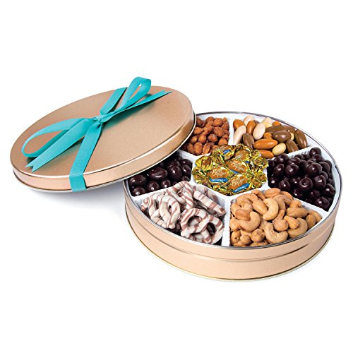 Chocolate and Nuts Gourmet Gift Basket | Christmas or Easter Holiday and All Occasions | Turquoise Bow Keepsake Tin Design | Dairy Free, Deluxe Snack Sampler - Holiday Gift Tin