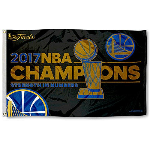 Rico NBA Golden State Warriors 2017 Basketball Champions Banner Flag, 3-foot x 5-Foot, Royal Blue, Gold by Rico