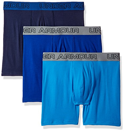 60b524e441bd Galleon - Under Armour Men's Cotton Stretch 6'' Underwear (3 Pack),  3X-Large, Brilliant Blue/Midnight Navy
