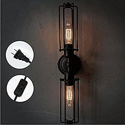 Kiven American industrial style double head mini Long shade cage metal wall sconce with plug in 1.8m black switch line , bulb not included(BD0233)