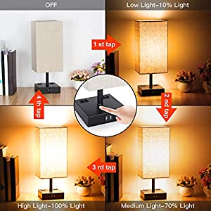 3-Way Touch Control Dimmable Table Lamp with 2 USB Charging Ports, 2 AC Outlets, Modern Bedside Lamp Nightstand Lamp for Bedroom Living Room Office, 60W Equivalent Vintage LED Bulb Included