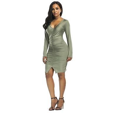 Long Sleeves V Neck Dexy Lady Spandex Short Mini Women Dresses Plus ...